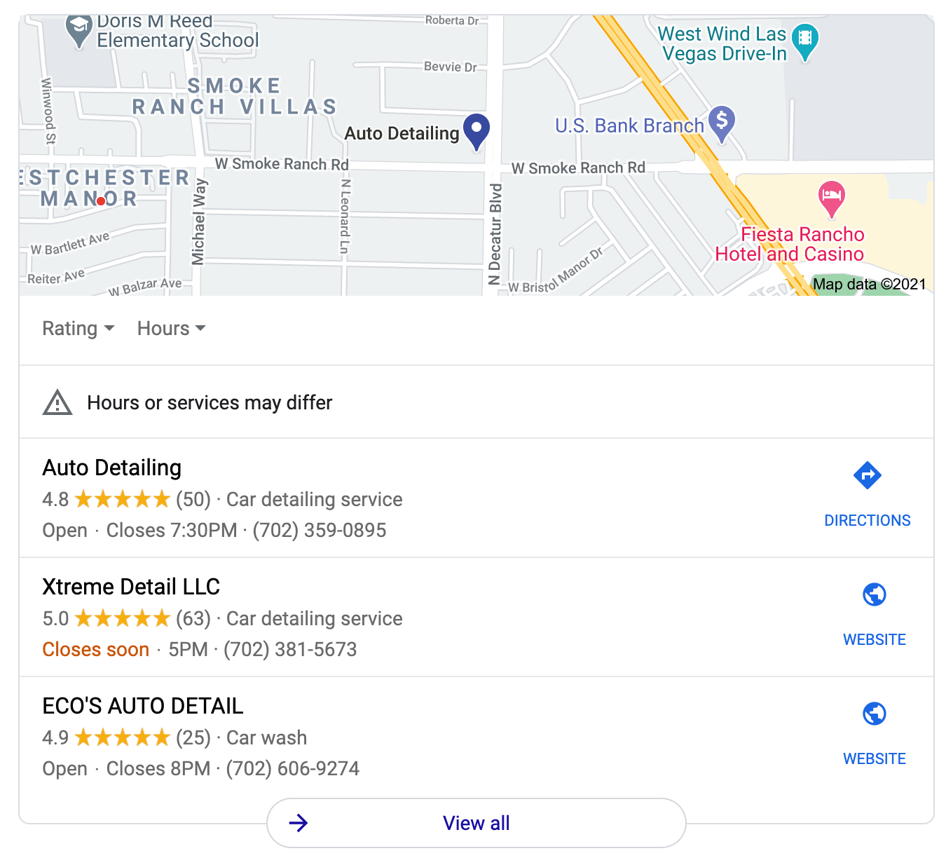 Google search results for auto detailing las vegas nv
